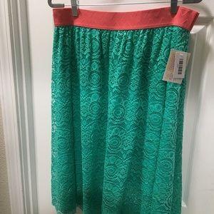 Lularoe Lola XL turquoise lace & salmon waistband